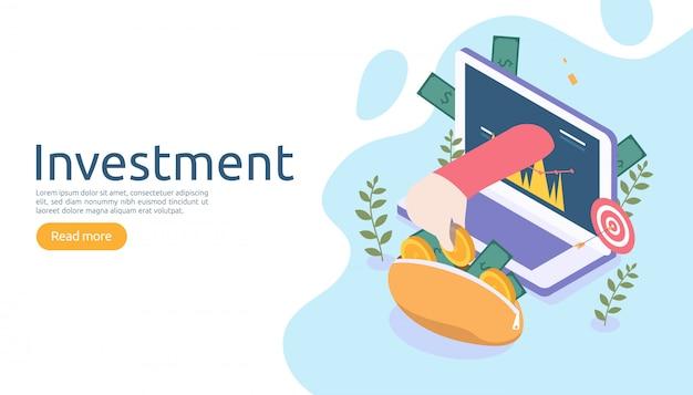 Management of return on investment-concept. online bedrijfsstrategisch voor financiële analyse. Premium Vector