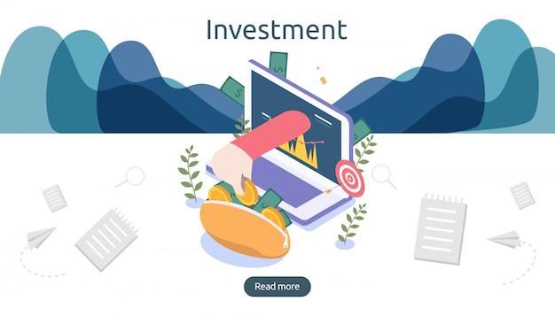 Management of return on investment-concept. online bedrijfsstrategisch voor financiële analyse.