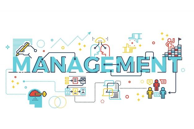 Management woord belettering typografie ontwerp illustratie met lijn pictogrammen en ornamenten in