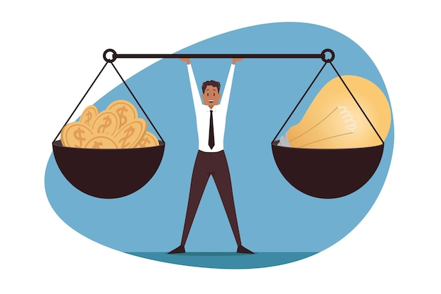 Managementbalans, leiderschap, zaken. idee voor geldwisselkantoor.