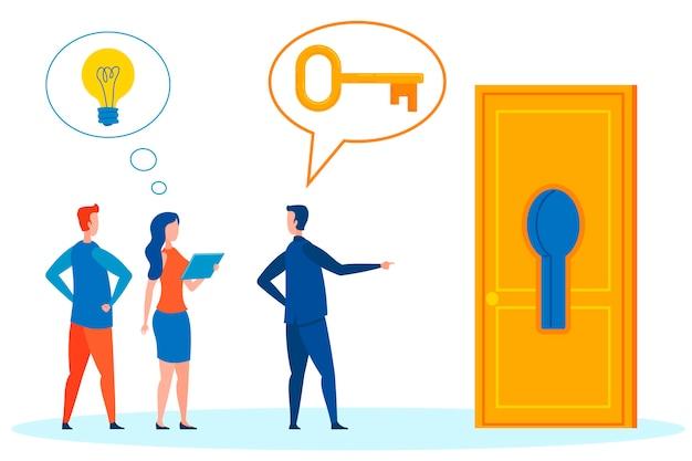 Manager, ceo vragen werknemer voor hulp illustratie