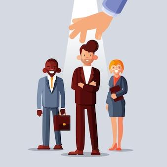 Manager die een nieuwe geïllustreerde arbeider kiest