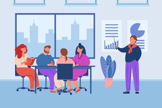 Manager die vermoeiende presentatie geeft aan publiek op kantoor. stripfiguur geeft saaie lezing aan een team van mensen, traint op het werk vlakke afbeelding