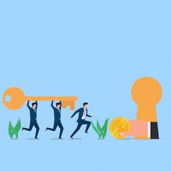Manager en werknemer brengen sleutel tot beloningsaanbod sleutelgat. zakelijke platte concept illustratie.