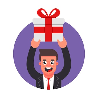 Manager geeft een geschenk. feest op kantoor. flat karakter vector illustratie.
