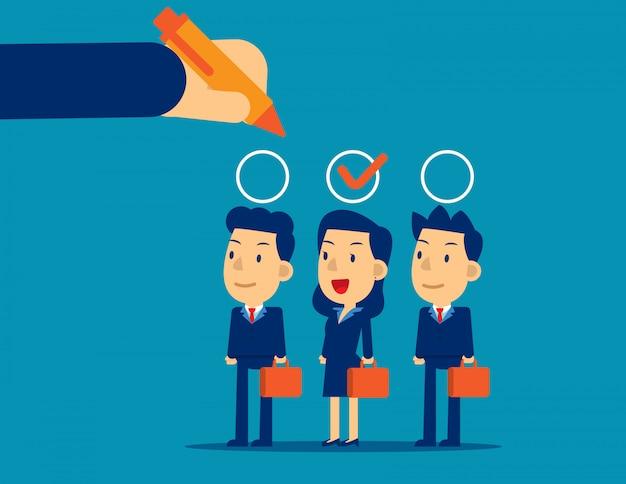 Manager hand selectie medewerker geschikte kandidaat