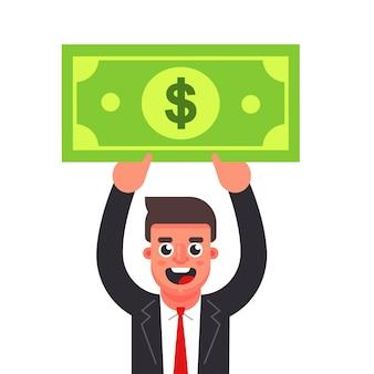 Manager houdt een rekening boven zijn hoofd. flat karakter vector illustratie.