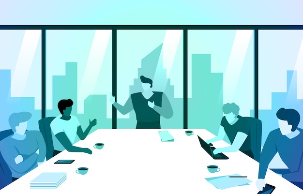Manager leidt vergadergesprek in office team met city-gebouw