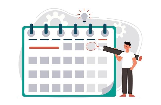 Manager planning evenement bestemmingspagina in vlakke stijl man met potlood benoeming datum van evenement