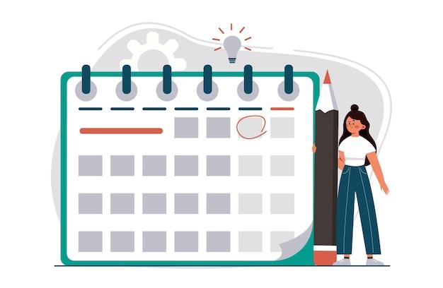 Manager planning evenement bestemmingspagina in vlakke stijl vrouw met potlood benoeming datum van evenement