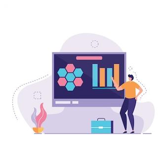 Manager uitleggen grafiek op monitor vector