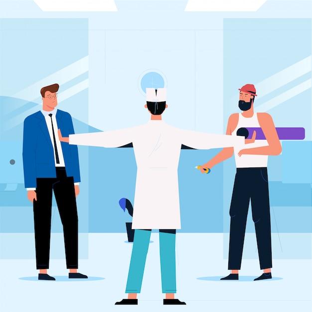 Manager, werknemer en arts houden een bijeenkomst in het kantoorgebouw. het concept van de werksituatie. vector illustratie