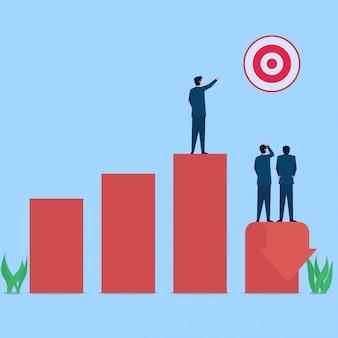 Manager wijst op doel terwijl grafiek metafoor van verlies naar beneden gaat. zakelijke platte concept illustratie.