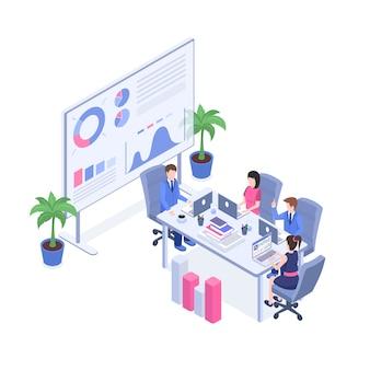 Managers en supervisors, kantoorpersoneel in 3d-stripfiguren in de vergaderruimte.