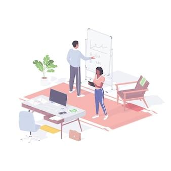 Managers onderzoeken isometrie van bedrijfsstatistieken. vrouwelijke personage controleert de laatste financiële nieuwstablet op het web. man in de buurt van schoolbord analyseert de voorraadgrafiek. informatie infographic realistisch concept.