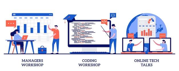 Managers, programmeerworkshop, online tech talks concept met kleine mensen. trainingsset voor vaardigheden van werknemers. code schrijven, softwareontwikkeling, presentatie, websessie.