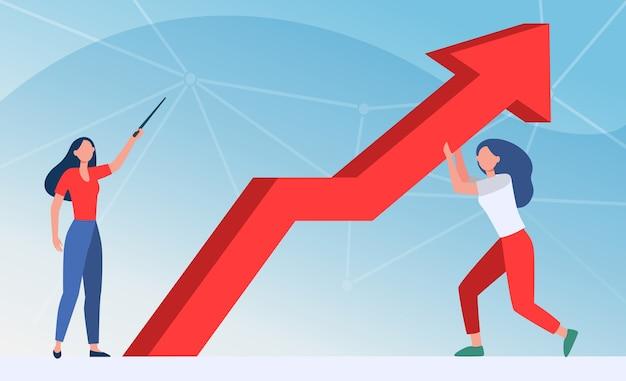 Managers verzetten zich tegen crisis. vrouw die omhoog wijst, haar collega die de groeipijl platte vectorillustratie houdt. zaken doen, problemen oplossen, bankieren