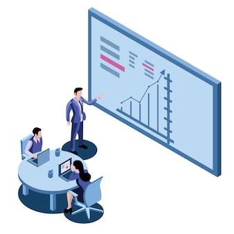 Managerzakenman die de presentatie leiden tijdens de vergadering in bureau