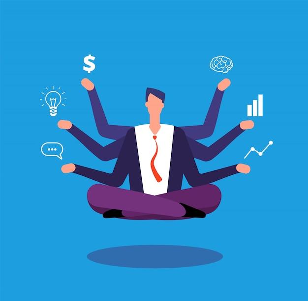 Managerzitting in yogalotusbloem stelt en jongleert met met taken