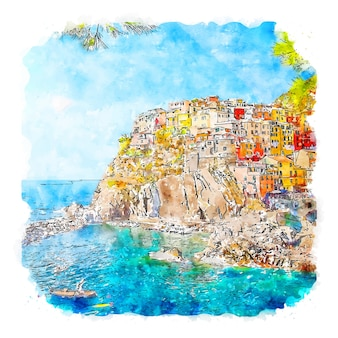 Manarola italië aquarel schets hand getekende illustratie