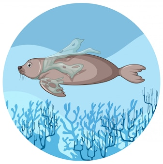 Manatee en plastic zakken onder water
