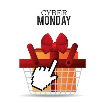 Mand cadeau cyber maandag ontwerp vector illustratie ep