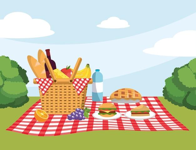 Mand met brood en brood in de tafelkleeddecoratie