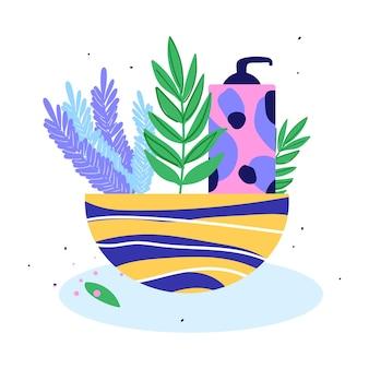 Mand met shampoo en lavendel