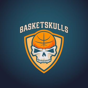 Mand schedels basketbal logo sjabloon. sportteam of kampioenschap embleem. university league sign.