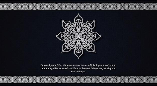 Mandala-achtergrondconcept met blauwe en witte kleur