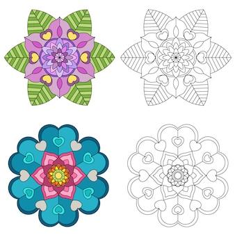 Mandala bloem 2 stijlkleuring voor volwassenen.