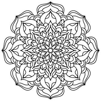 Mandala bloem kleurplaat. bloemen kant. etnisch ontwerp.
