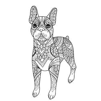Mandala boston terriër hond voor afdrukken, graveren, lasersnijden, kleurboek enzovoort. vector illustratie
