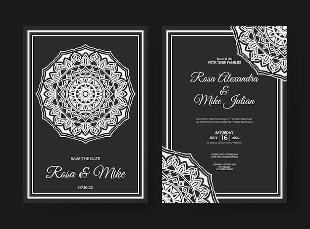Mandala bruiloft uitnodiging sjabloon premium