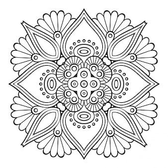 Mandala. eenvoudige lijn, decoratief element om in te kleuren.