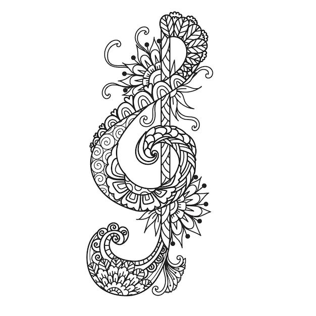 Mandala g-sleutel voor afdrukken op product, gravure, papier gesneden, laser gesneden of volwassen kleurplaat. vector illustratie.