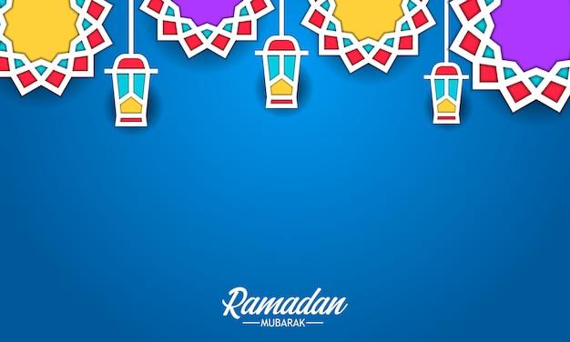Mandala geometrische patroon pop kleur lantaarn lamp voor ramadan