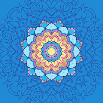 Mandala in blauwe en gele kleur