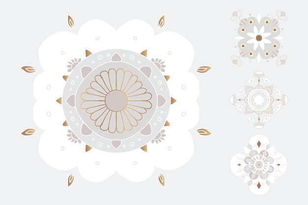 Mandala indiase symbool bloemen illustratie set