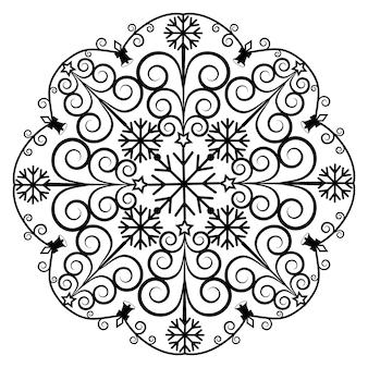 Mandala kerst zwarte sjabloon stencil, geïsoleerde vectorillustratie.
