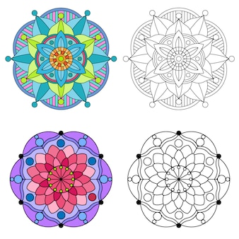 Mandala kleurende bloemen en bloemmandala om ornament 2 kleurrijke stijl.