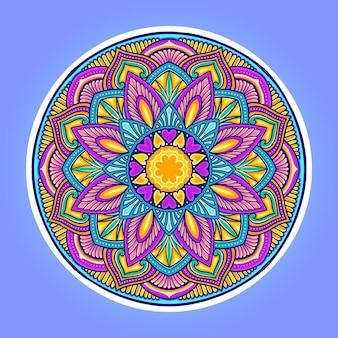 Mandala kleurrijke liefde blad vectorillustraties voor uw werk logo, mascotte merchandise t-shirt, stickers en labelontwerpen, poster, wenskaarten reclame bedrijf of merken.