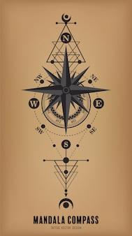 Mandala kompas tattoo vector ontwerp