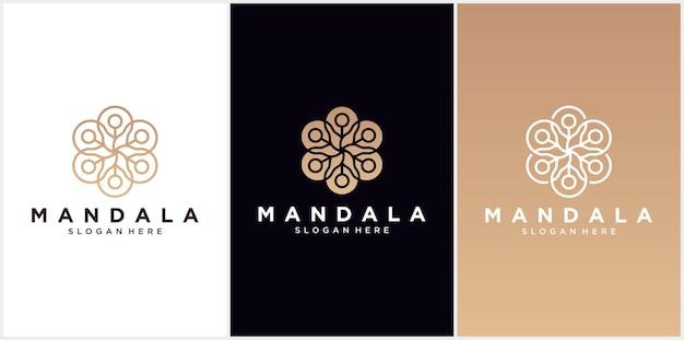 Mandala logo ontwerpsjabloon, abstract symbool in mandala-stijl, embleem voor luxeproducten, hotels, boetieks, sieraden, oosterse cosmetica