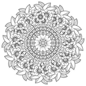 Mandala met bloem voor henna, mehndi, decoratief ornament in etnische oosterse stijl.