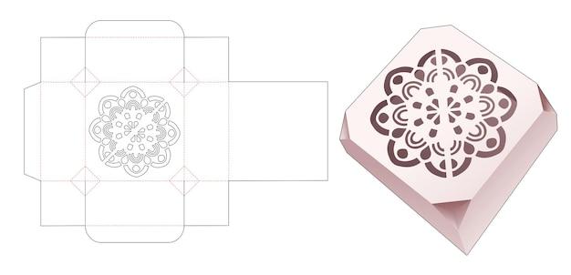 Mandala minidoos met stencil en afgeschuinde hoek gestanst sjabloon