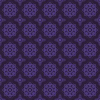 Mandala naadloze patroon achtergrond. geometrisch vormbehang. bloem bloemen sier in paarse kleur