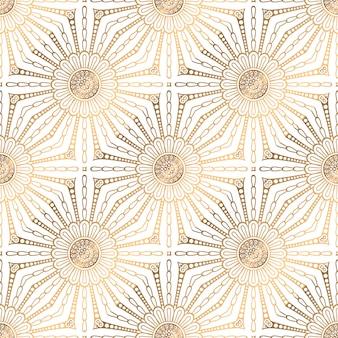 Mandala naadloze patroon gouden achtergrond