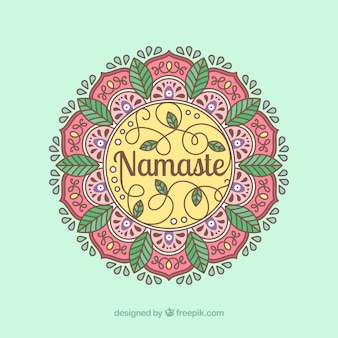 Mandala namaste achtergrond in lineaire stijl