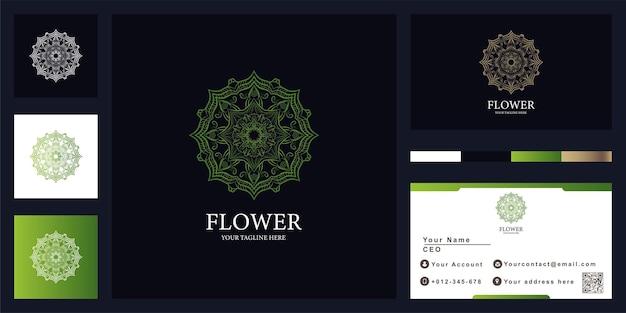 Mandala of ornament luxe logo sjabloonontwerp met visitekaartje.